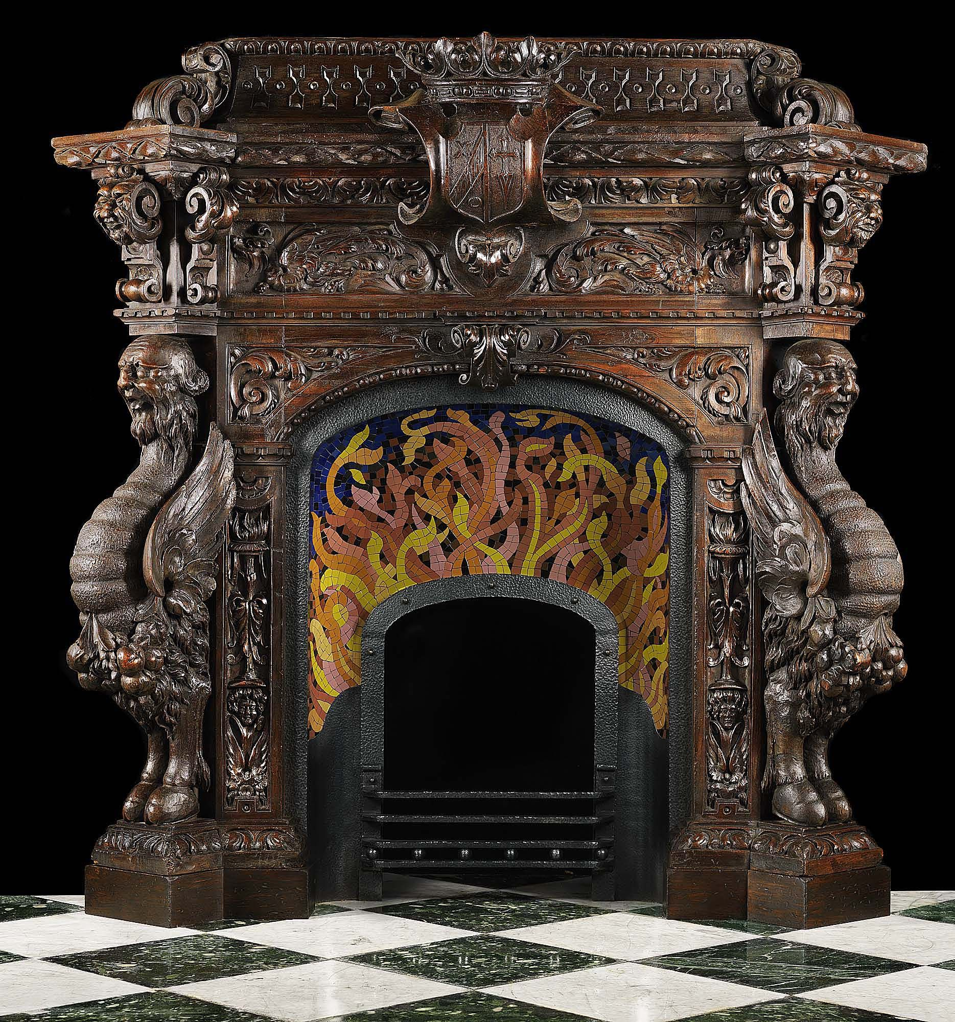 antique spanish mannerist fireplace mantel in carved wood rococo rh pinterest com Wood Carved Fireplace Mantels Dollywood Carved Wood Mantels Shelf