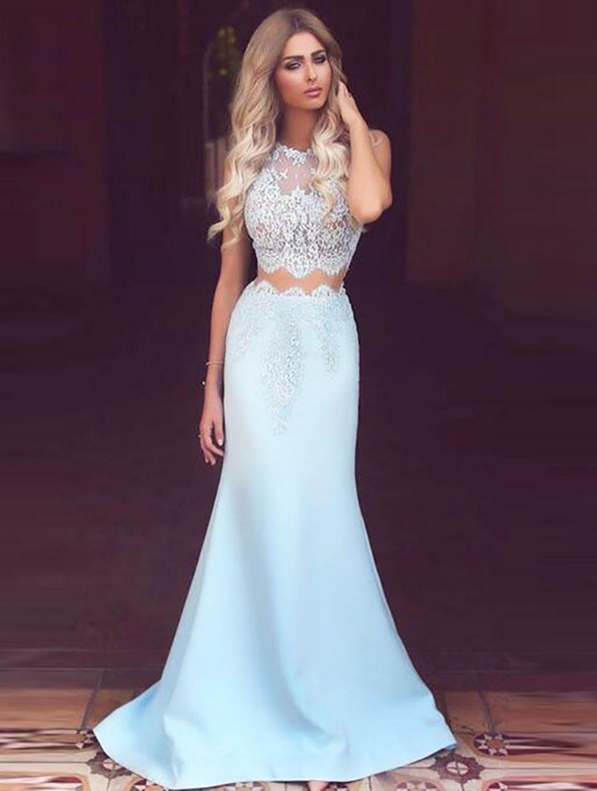 Ice blue two pieces long lace top round neck graduation dress long
