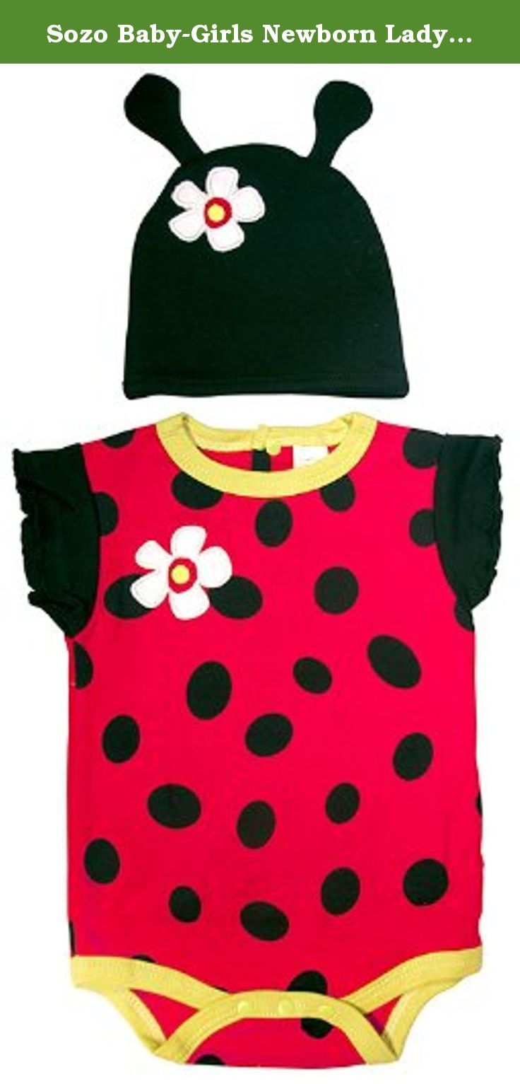 Sozo Baby-Girls Newborn Ladybug Bodysuit and Cap Set, Red/Black, 0-3 Months. SOZO's adorable bodysuit and caps sets feature vivid colors and whimsical prints with richly detailed appliques and embroidery. Snaps at inseam and back for easy changing and diapering. Made of 100% premium interlock cotton. Available in 3 sizes, 0-3, 6-9 and 12 months. Machine washable.