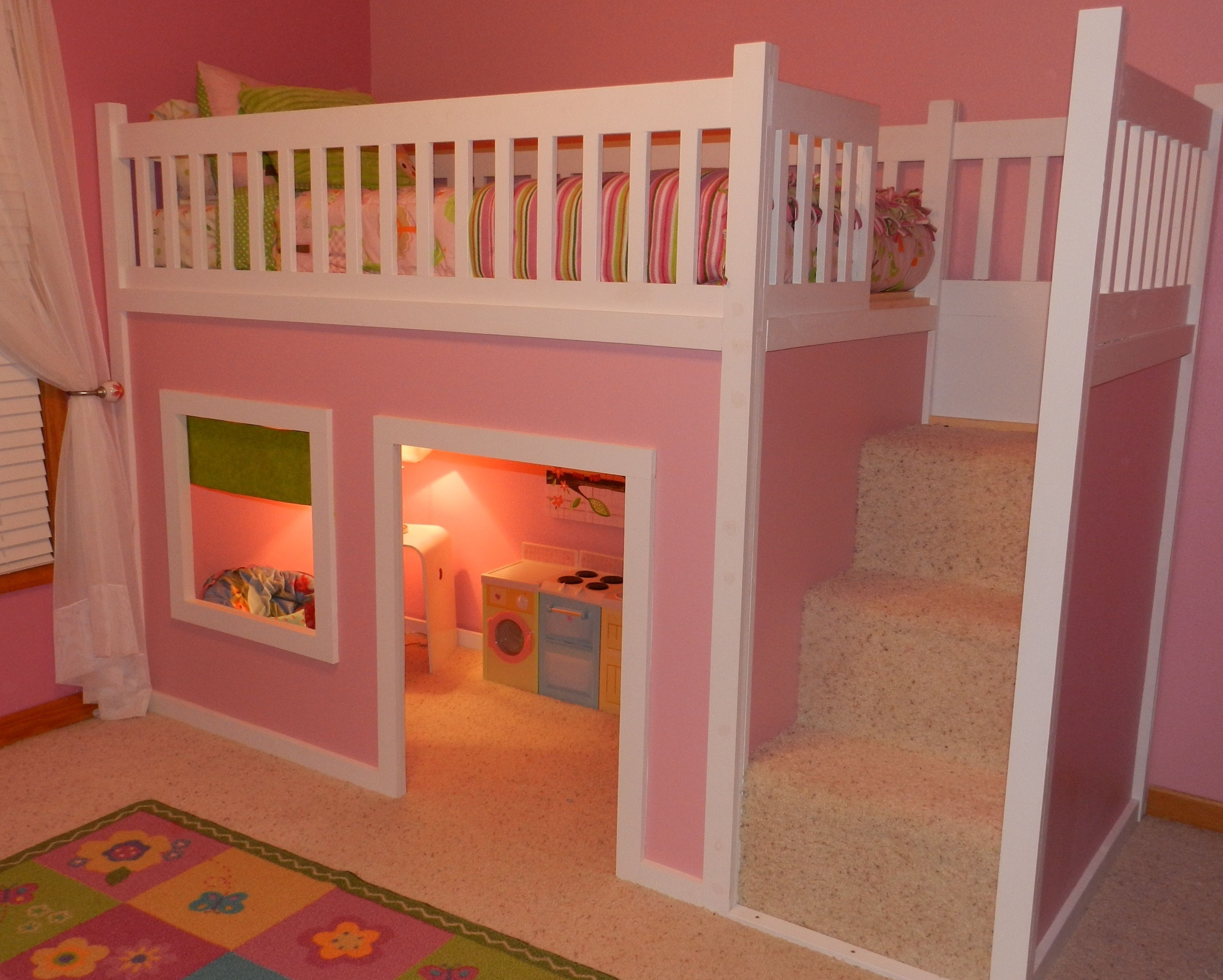 Designer small basement window curtains and pink kids plaid cute kids - Kids Loft Room Ideas Loft Bed Kids Ideas Lila Room Ideas