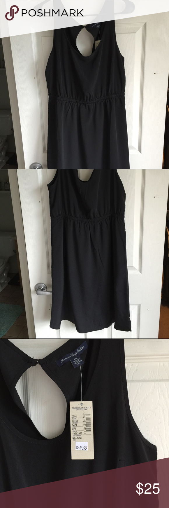 American Eagle HiLo dress Size Medium. Cute dress with Hi- Lo hem at bottom and cut out back. Never worn. NWT. Silk like material American Eagle Outfitters Dresses High Low
