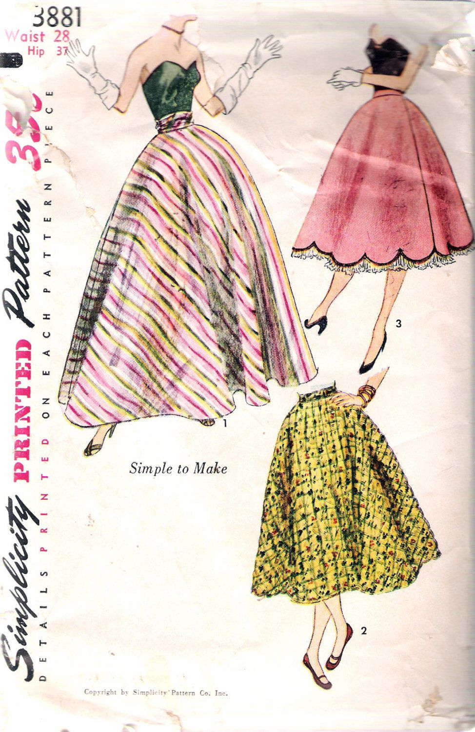 Vintage 1952 simplicity 3881 misses half circle skirt sewing vintage 1952 simplicity 3881 misses half circle skirt sewing pattern size waist 28 by recycledelic1 jeuxipadfo Gallery