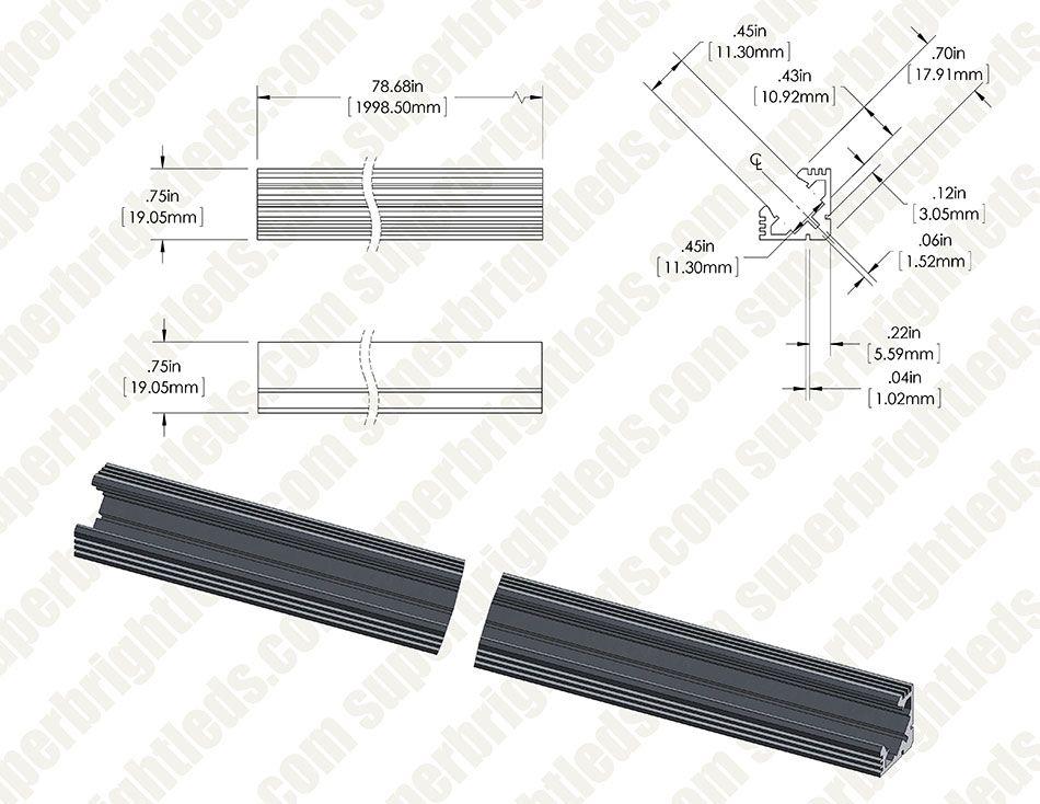 45 Alu Led Strip Channel Corner Led Strip Lighting Mounting Led Strips Led Strip