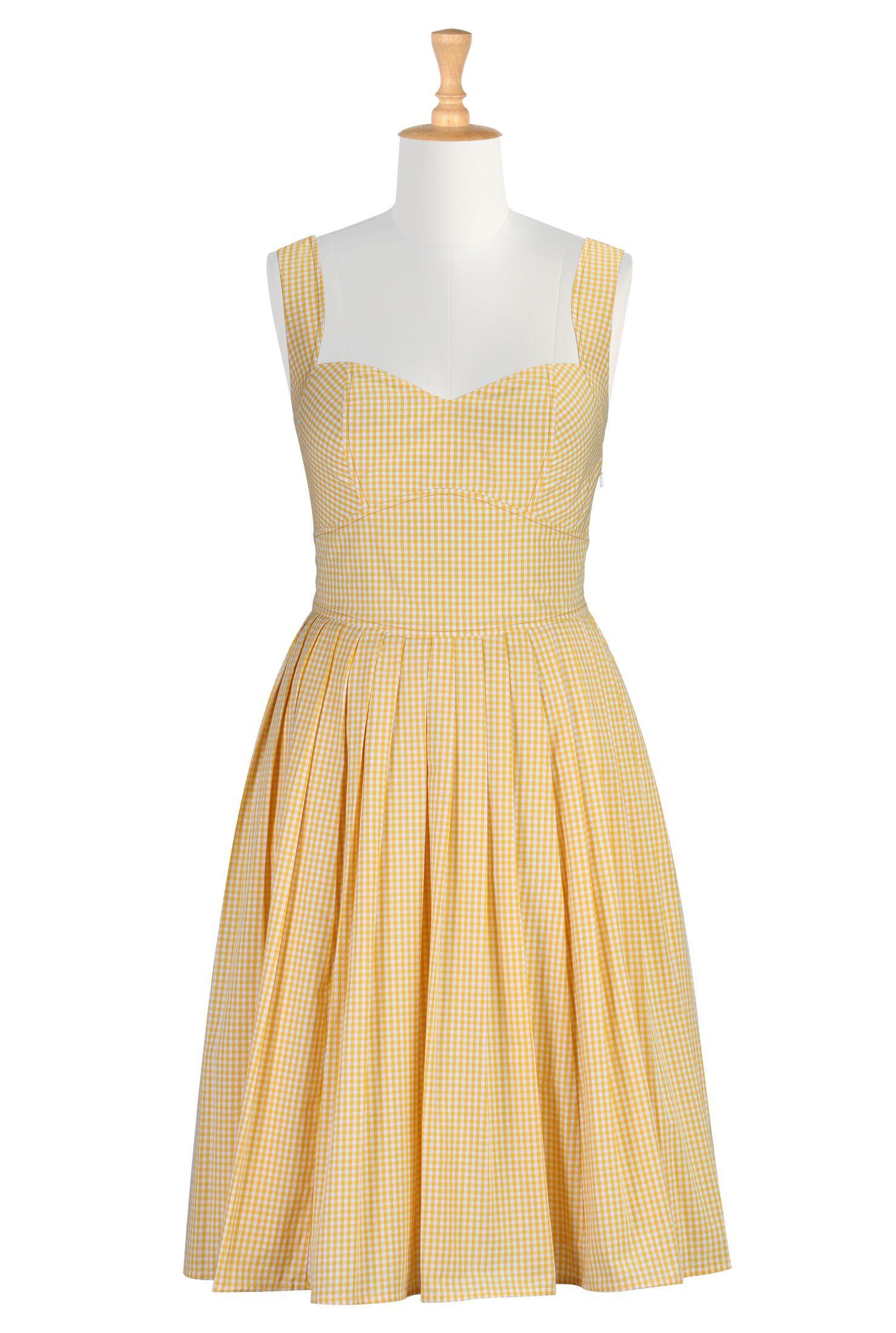 her fifties gingham check dress | petite sundresses, sundresses