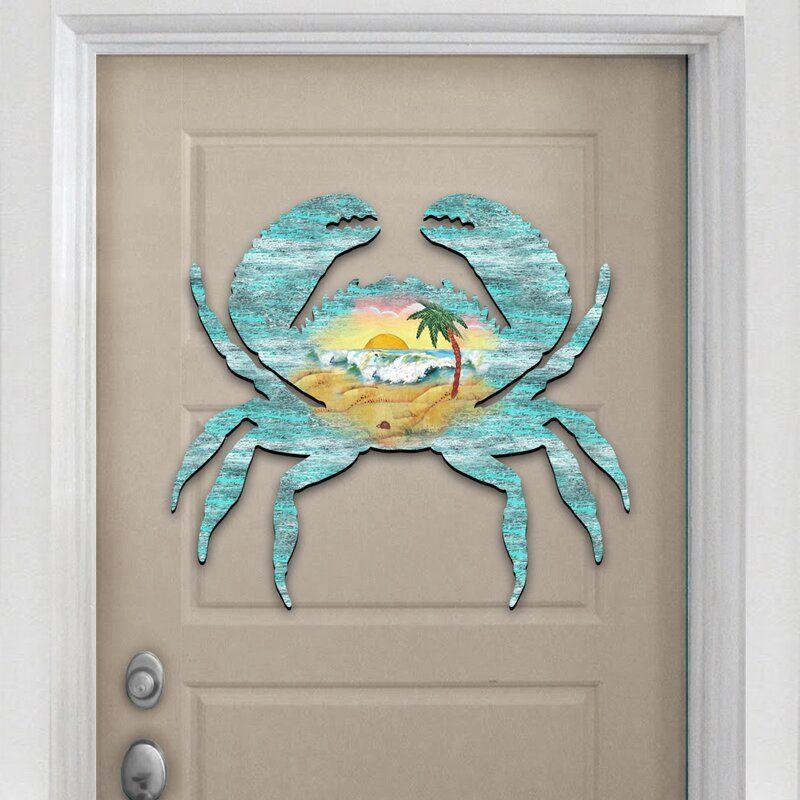 Crab Scenic Hanging Figurine Wood Door Hanger Wall Decor Wood Door Hangers Wall Hanger Burlap Door Decorations
