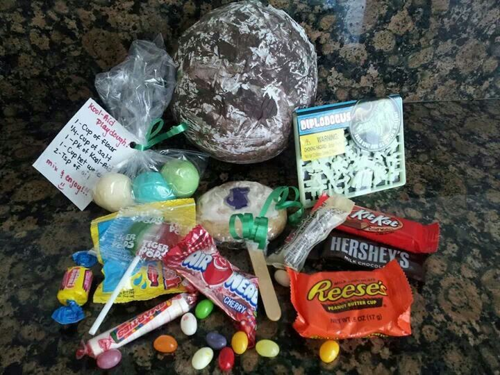 """""""Dinosaur Egg"""" goodie bag. All of this fit into one egg!"""