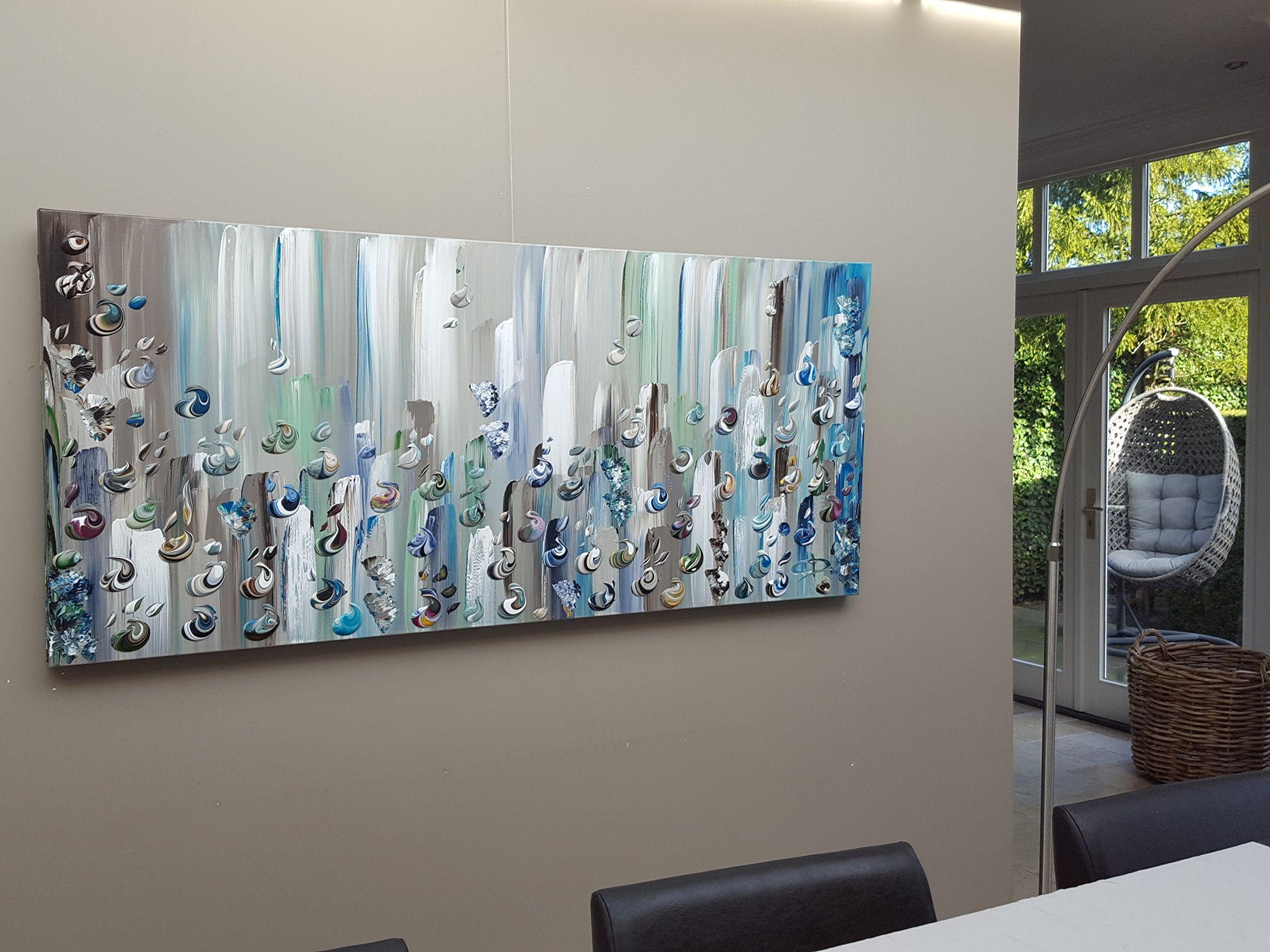 180cm: schilderijen in natuurtinten voor een landeu2026 grote