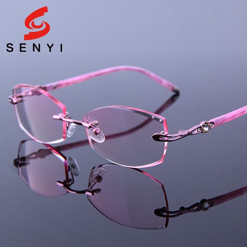3c17f7280eaf Tinted Reading Eyeglasses Pink Frames Presbyop Glasses Women Optical  Hyperopia Female Rimless Rhinestone Woman Crystal Spectacle-in Reading  Glasses from ...