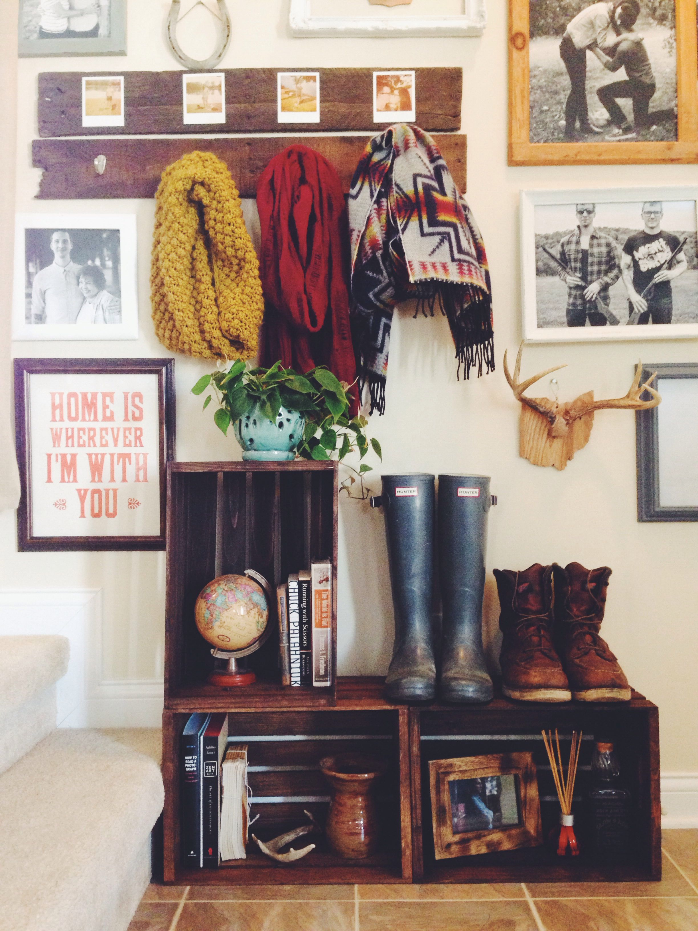Storage ideas for hallway  Pin by Livlin on Bohemianvintage home  Pinterest  Crates Storage