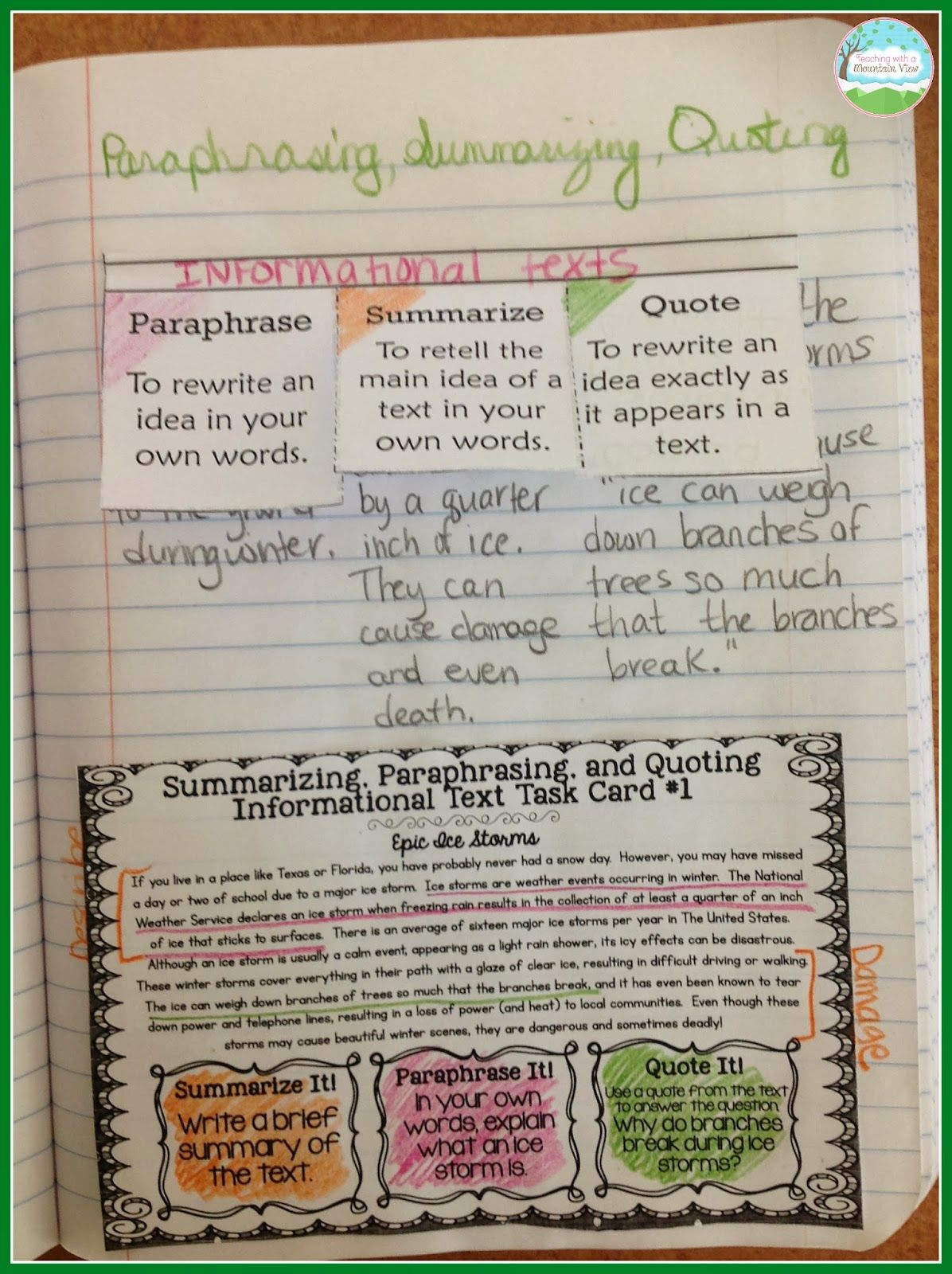Summarizing Paraphrasing And Quoting Text Teaching With A Mountain View Middle School Reading Classroom Practice Worksheet