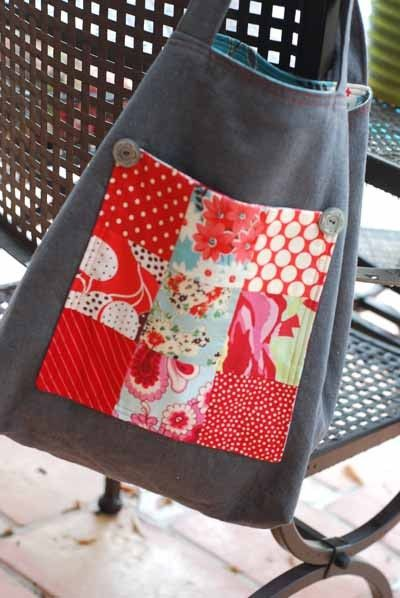 Grey Organic Linen 9Patch Pocket Tote Bag  ECO by ShereesAtelier
