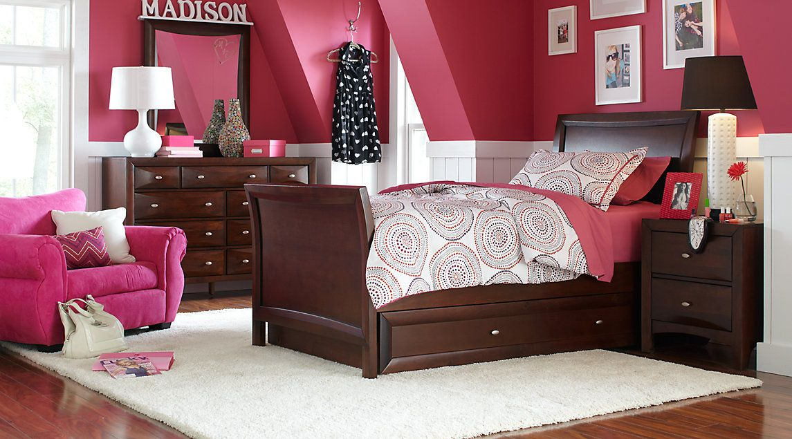 Affordable Dark Wood Full Bedroom Sets - Girls Room Furniture | FAVS ...