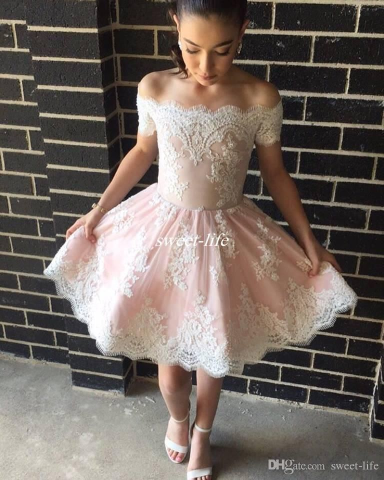 57330acb2378 Blush Pink Short Semi Prom Dresses Off Shoulder with Short Sleeve Applique  Lace Mini Junior High School Homecoming Party Gowns Arabic 2017 Party  Dresses ...