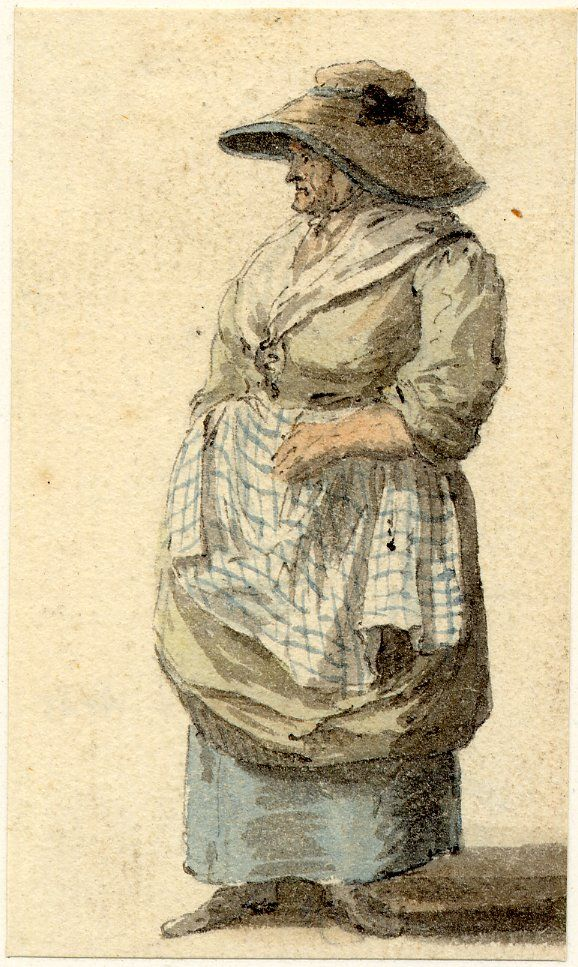 """Paul Sandby.  """"A Market woman, one of the figure sketches made in Edinburgh and the neighbourhood after the rebellion of 1745; whole-length turned to left, wearing a soft hat with large brim and checked apron Pen and black ink and grey wash, with watercolour""""  British Museum."""