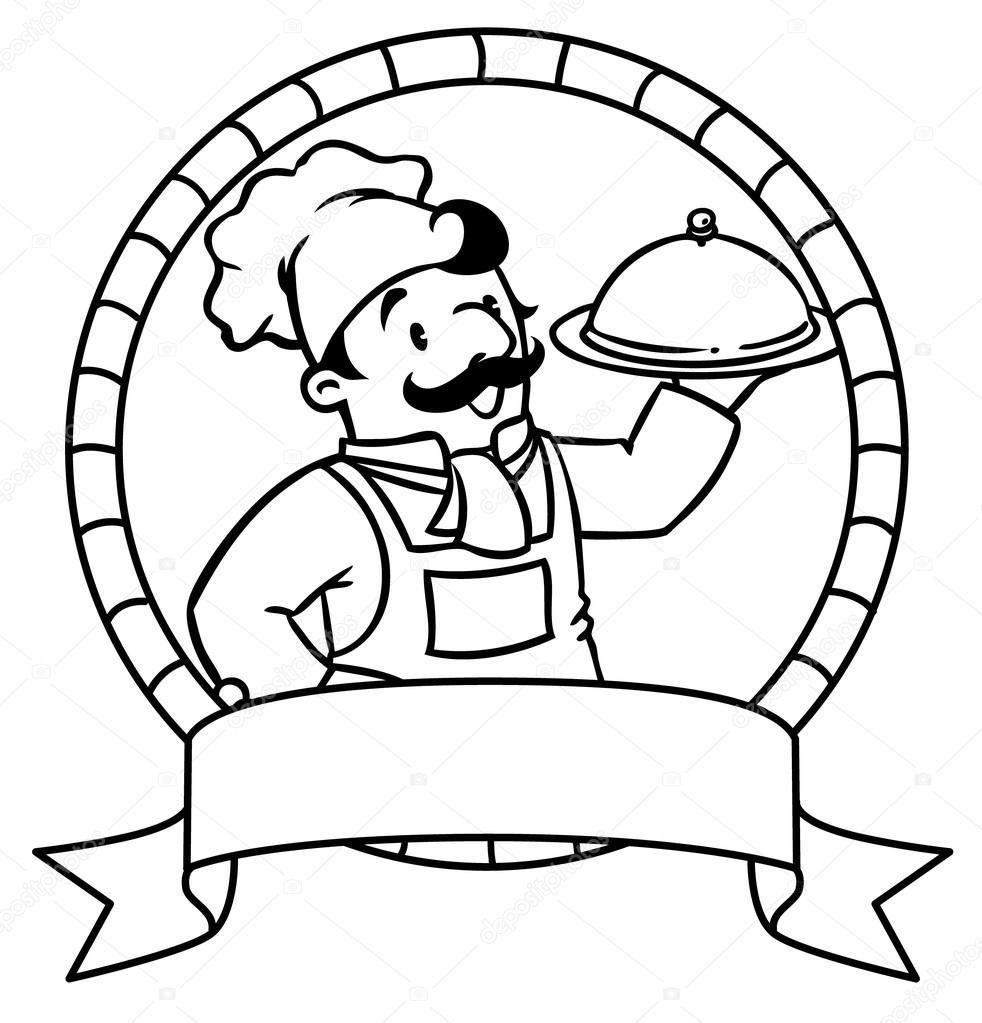 Komik Aşçı Ya Da şef Boyama Kitabı Amblem Telifsiz Stok