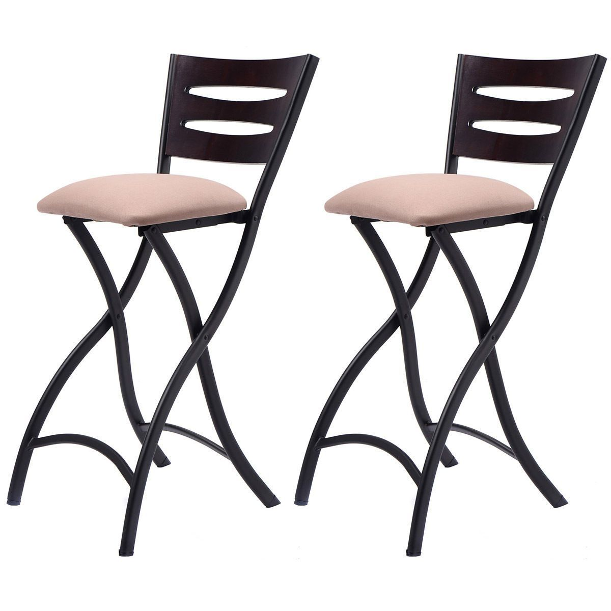 Set Of 2 Folding Bar Stools Counter Height Bistro Dining Kitchen Pub Chair