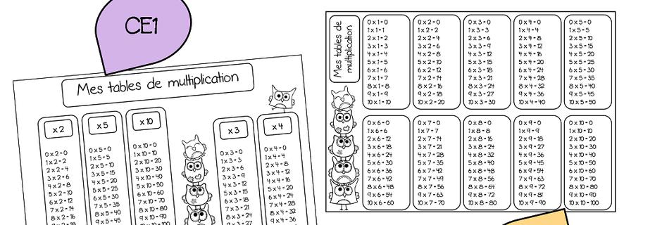 mathématiques: mes tables de multiplication, ce1 et ce2 | maths
