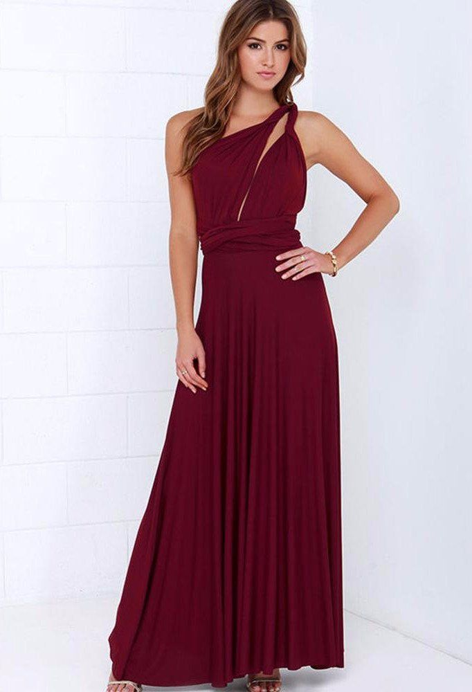 e529708efae Red Wine Multi way Convertible Wrap Maxi Dress Dresses
