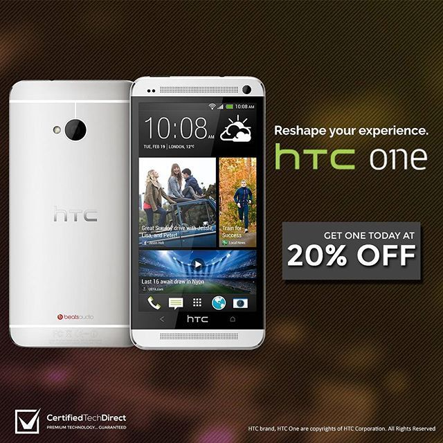 Reshape your experience with the HTC One M7. Get it at 20% off with code C20ELF. Ends tonight at 11:59PM AEST. T&Cs apply. Click the link on our Instagram profile page. #ebaysale #techsale #htc #htcmania #htcone #teamandroid