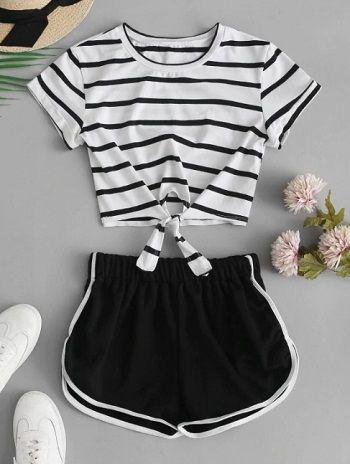 Conjunto Camiseta Recortada a Rayas y Shorts BLACK