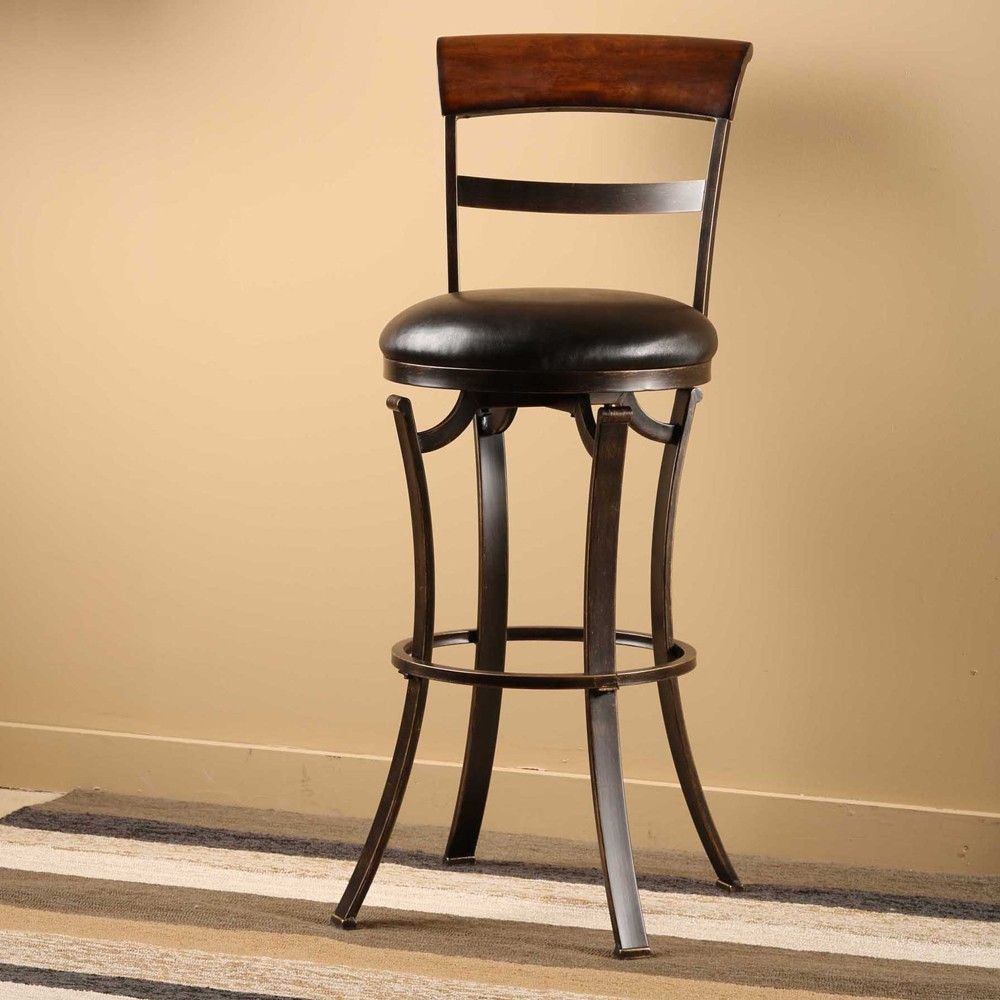 Kennedy Wood Swivel Stool In Black Gold Antiqued By Hillsdale  ~ Cojines Para Taburetes De Cocina