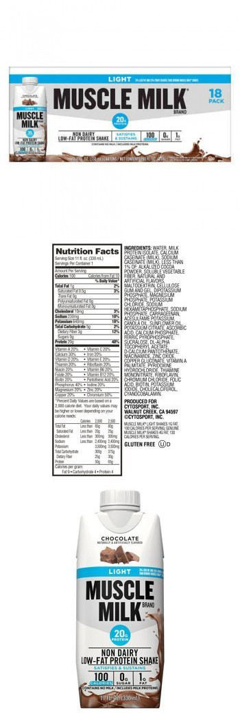 Chocolate Muscle Milk Light Ready To Drink Shake 18 Individual Screw Top 11 Ounce Cartons Muscle Milk Muscle Milk Light Milk Nutrition Facts