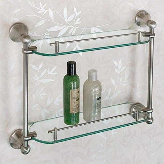 Naiture Collection Tempered Glass Shelf Two Shelves In Brushed