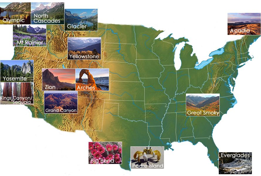 National Parks Map The Sierra Club And Our National Parks - Map of national parks in united states