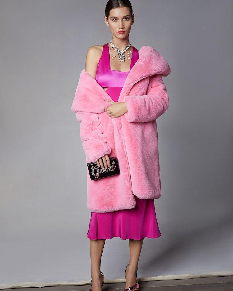 04c067c36840 Milly Riley Long Coat | Olivela Hemline, Faux Fur, Fur Coat, Fur Collar