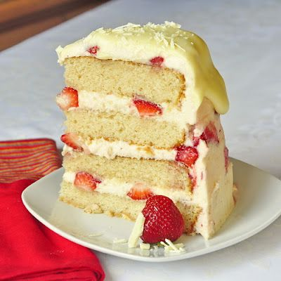 Strawberry White Chocolate Buttercream Cake