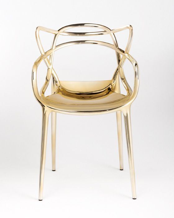 Gold Starck Masters Chair from Kartell Plastic chair with #metallic