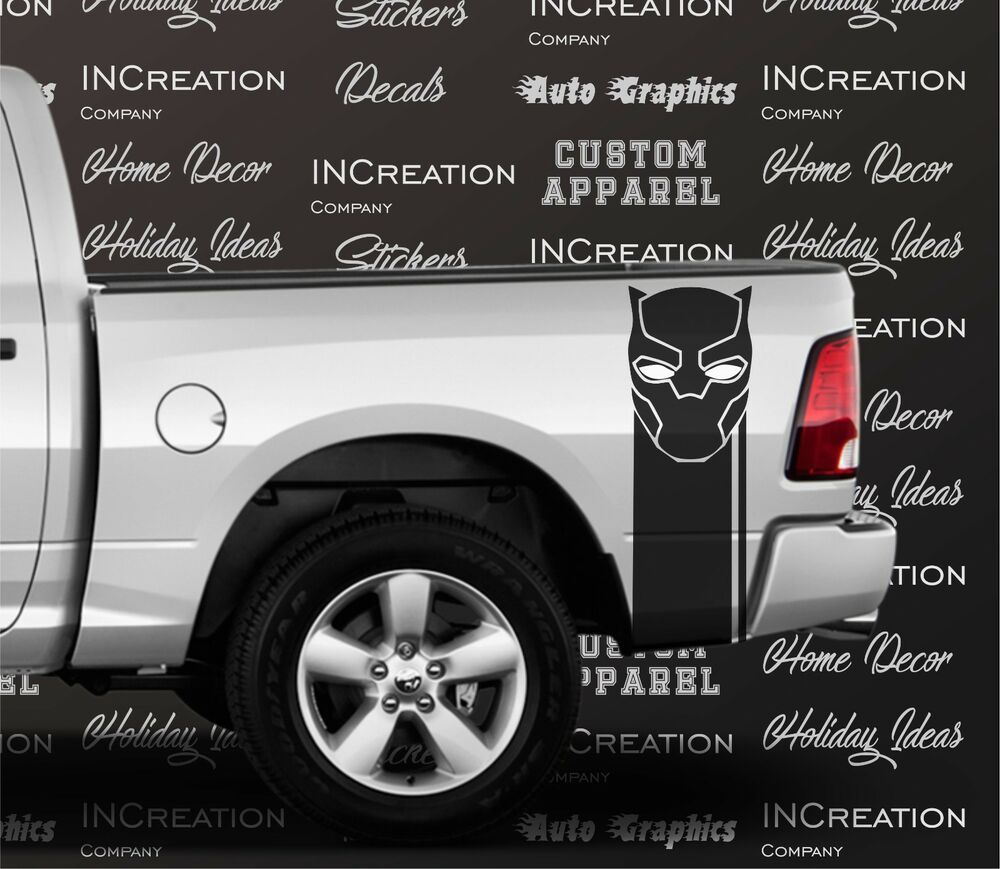 2 Black Panther Truck Decal Racing Stripes Rear Side Bed Graphics Decals Sticker Ebay Racing Stripes Truck Decals Truck Graphics [ 869 x 1000 Pixel ]