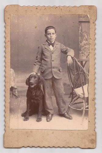 BOY-WITH-BOW-TIE-AND-DOG-UNUSUAL-VICTORIAN-STUDIO-OLD-PORTRAIT-ORIGINAL