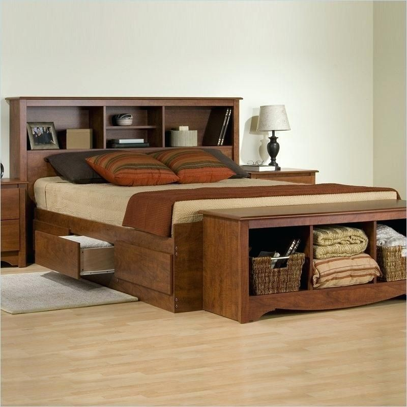 Wood Queen Bed Frame With Storage Bed Headboard Storage Bed