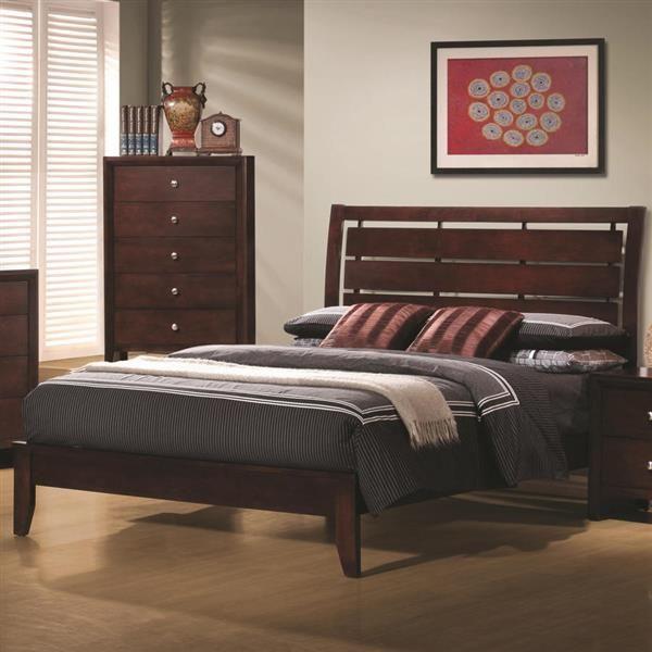 Serenity Transitional Merlot Wood King Sleigh Bed | Coaster ...