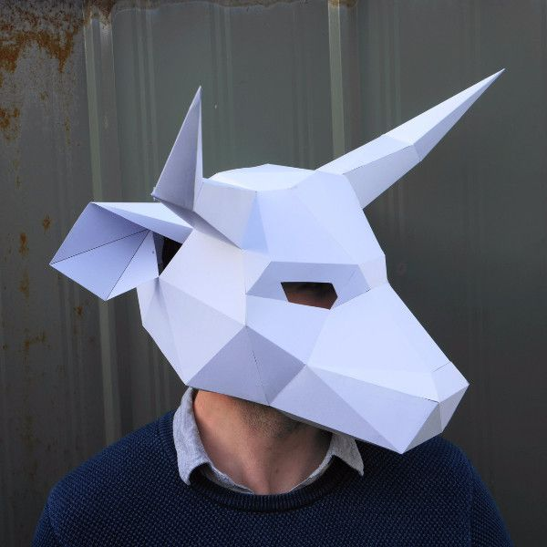Bull Mask Papercraft PDF DIY Beef Paper Craft Low Poly paper Bull Head Cow