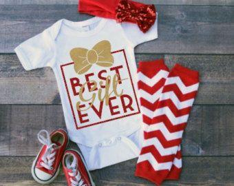 0cd83115e Best Gift Ever Onesie Christmas Onesie Long Sleeved Baby Gold Onesie Baby  Girl Christmas Outfit Onesie Baby Girls Best Gift Ever Onesie