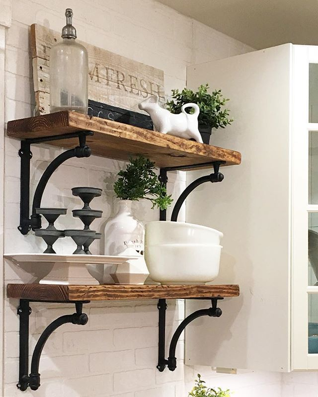 Playing along this morning for thepolishedfarmhouse Floating shelf ideas for kitchen