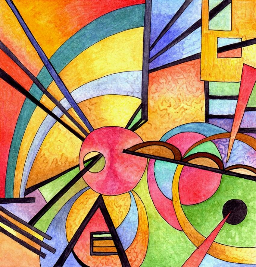 Kandinsky inspired 2 by on for Artists who use shapes in their paintings