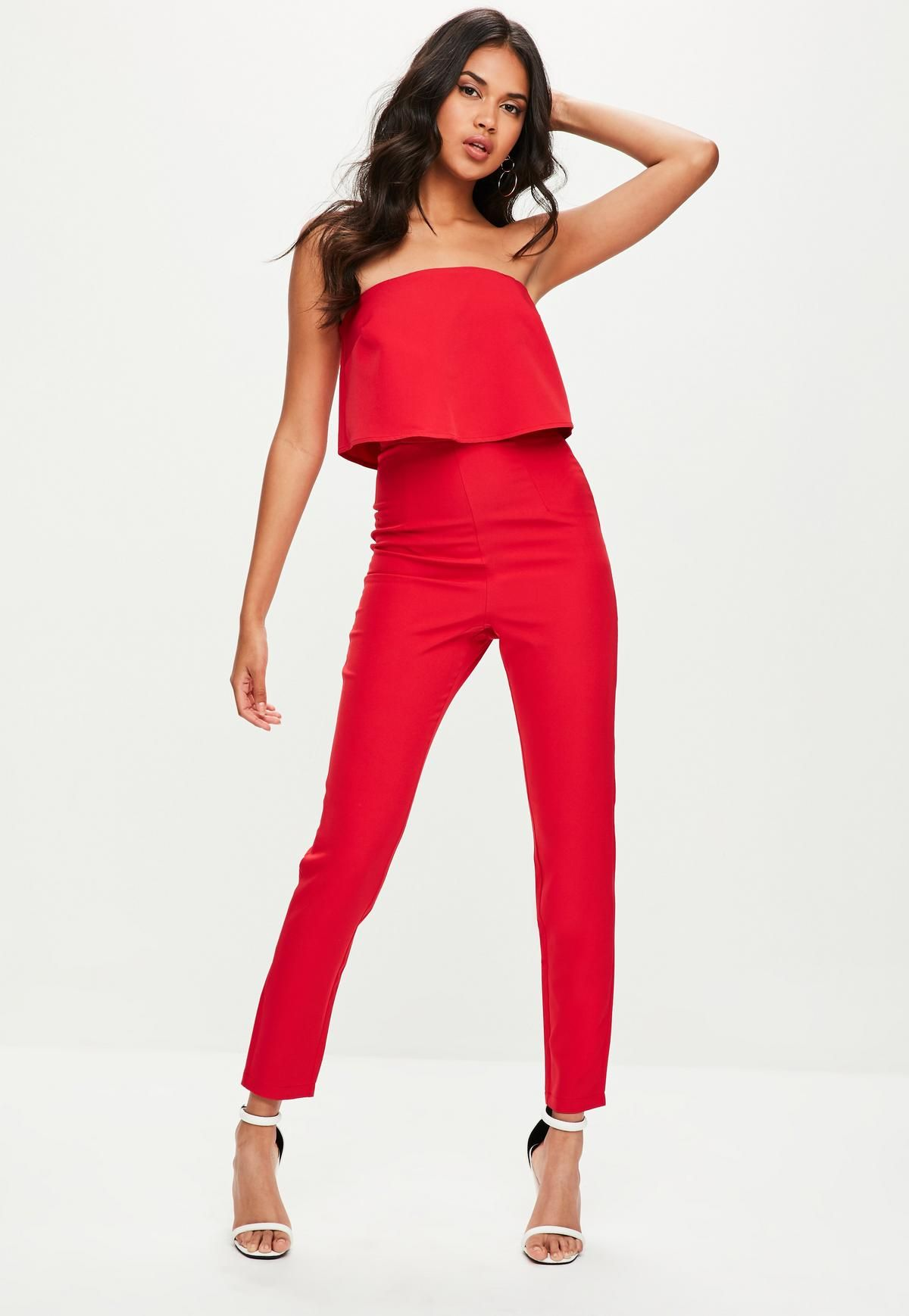 287119a2ad79 Petite Red Bandeau Double Layer Jumpsuit