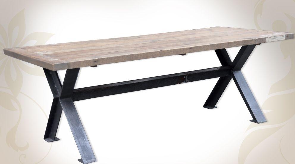 grande table de salle manger en bois massif et mtal style industriel
