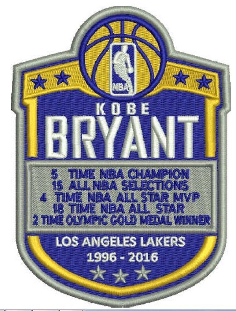 Kobe Bryant Patch Los Angeles Lakers 2015 2016 Yearbook Retirement Nba Legacy Kobe Bryant Los Angeles Lakers Kobe