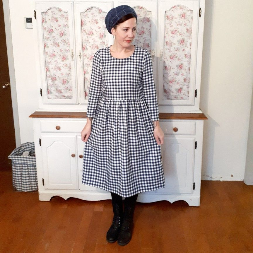 d5085787a45 Flannel Hinterland dress pattern by Sew Liberated. Bodice cut on fold