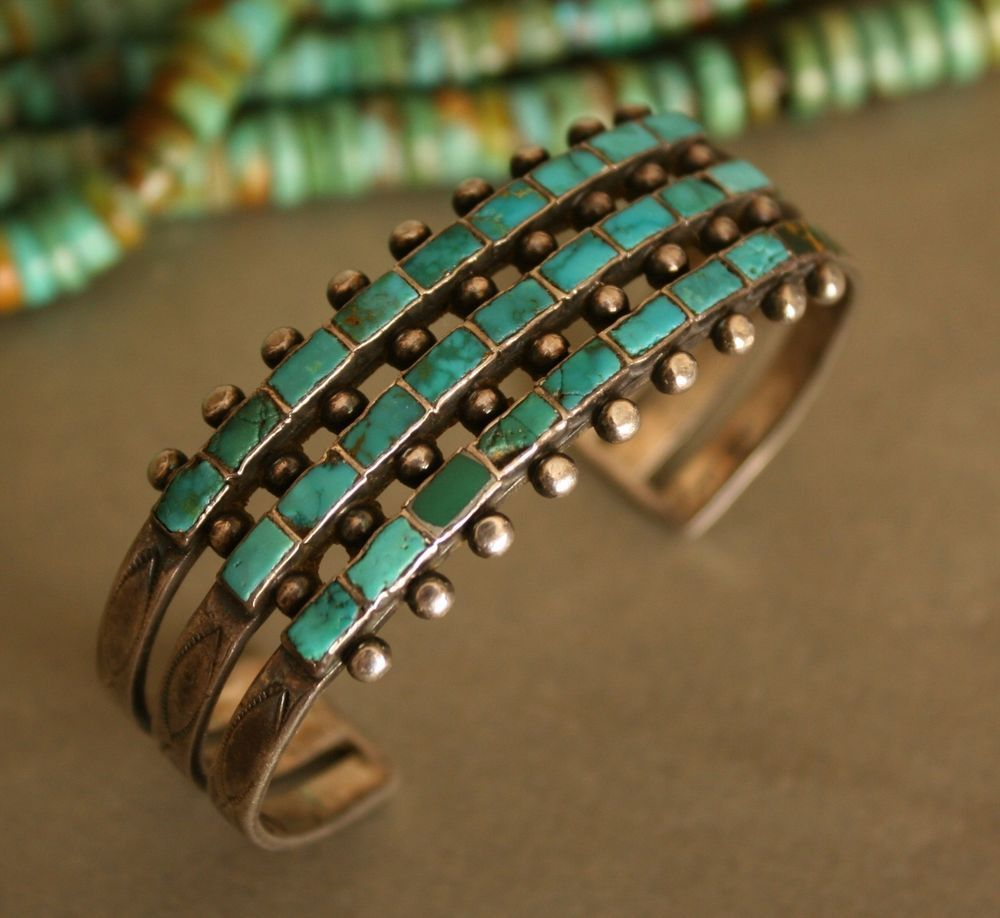 Very Old 3 Row Zuni Native American Sterling Silver Turquoise Cuff