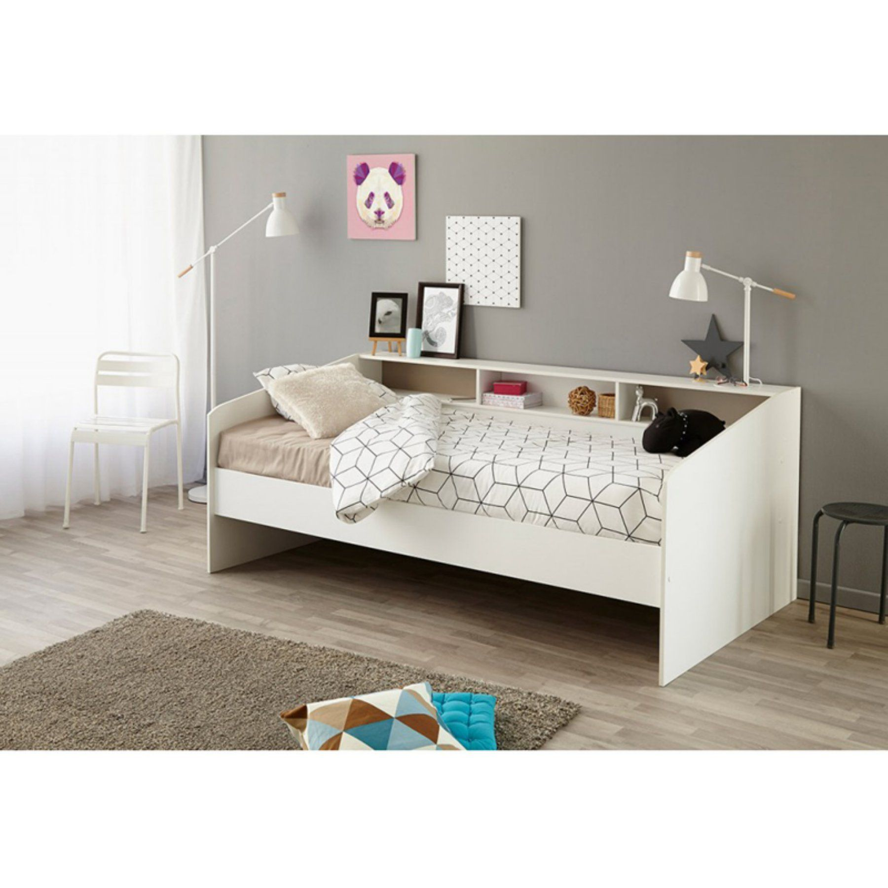 Parisot Sleep Youth Platform Bed With 2 Drawers Neutral White