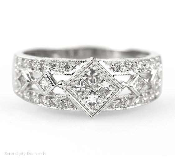 Nice Vintage style wedding ring interwoven with modern diamond setting techniques The four central princess cut