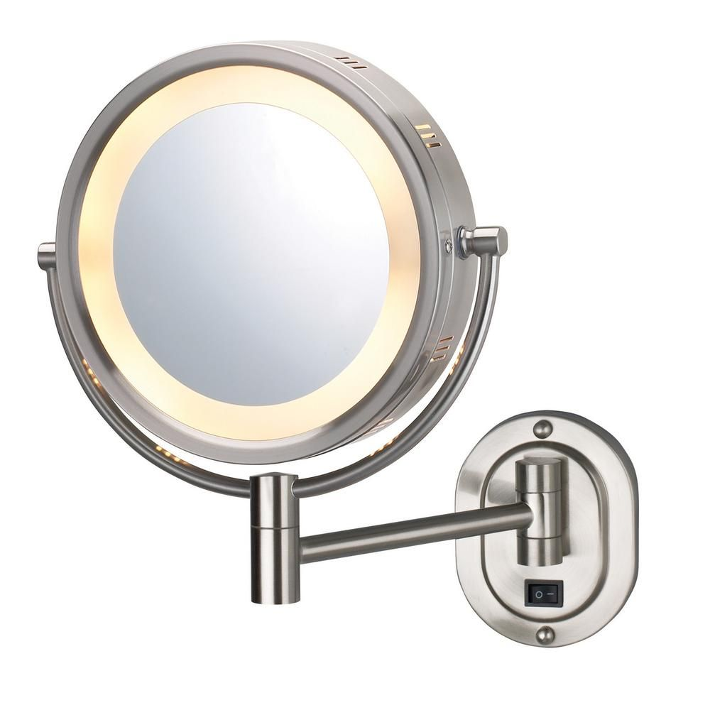 Jerdon 14 In X 13 In Lighted Wall Makeup Mirror In Nickel