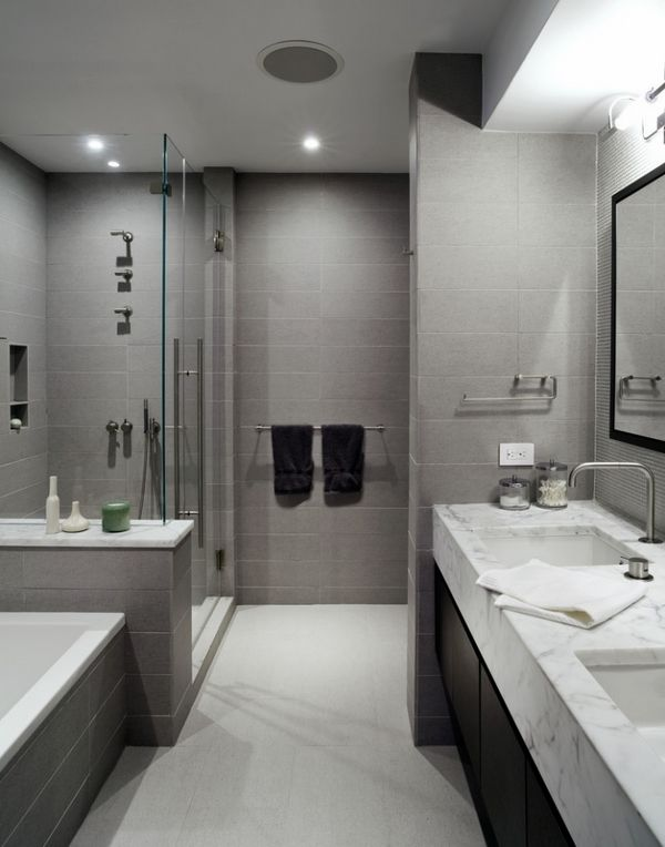 Contemporary Gray Bathroom Design Marble Effect Tiles Vanity Countertop