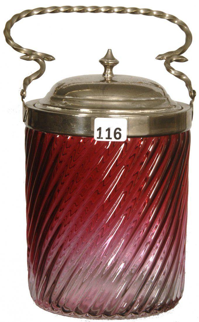 "7 1/4"" CRANBERRY ART GLASS SWIRL BISCUIT JAR :"