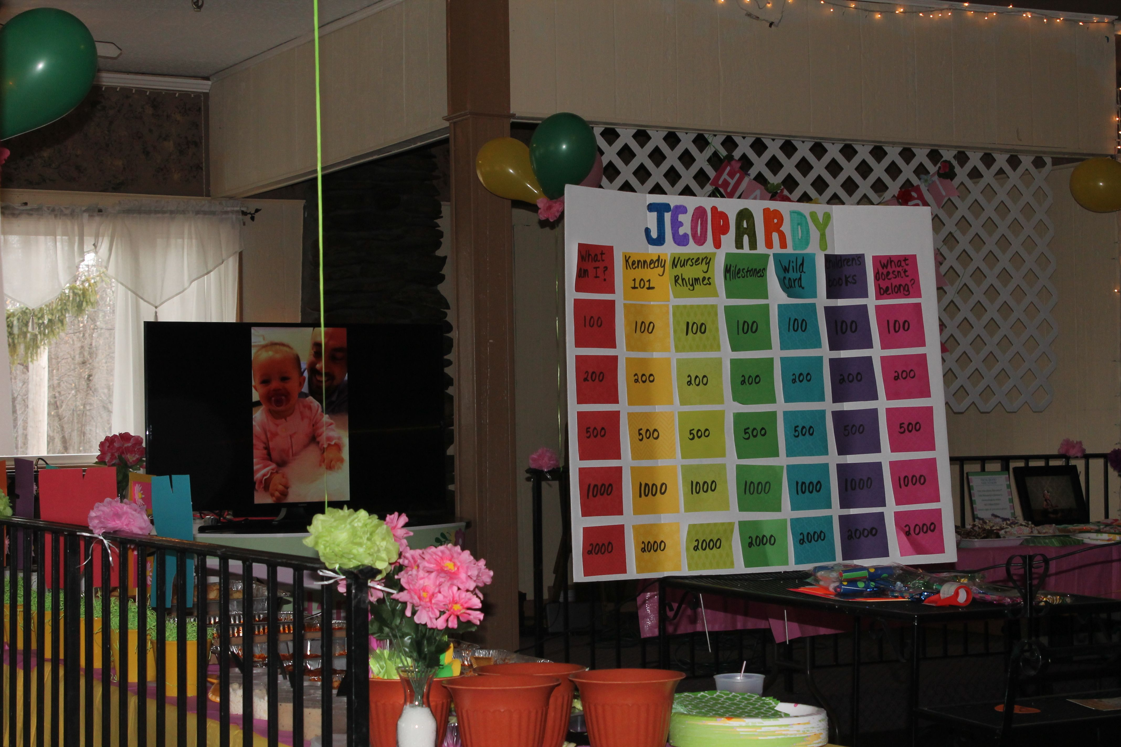 First Birthday Jeopardy Party Games Birthday Party Games Games For Adults 1st Birthday Games First Birthday Activities Birthday Games For Adults